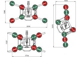 Schéma du palonnier à ventouses (avec 4, 6 et 8 bras d'extensions).